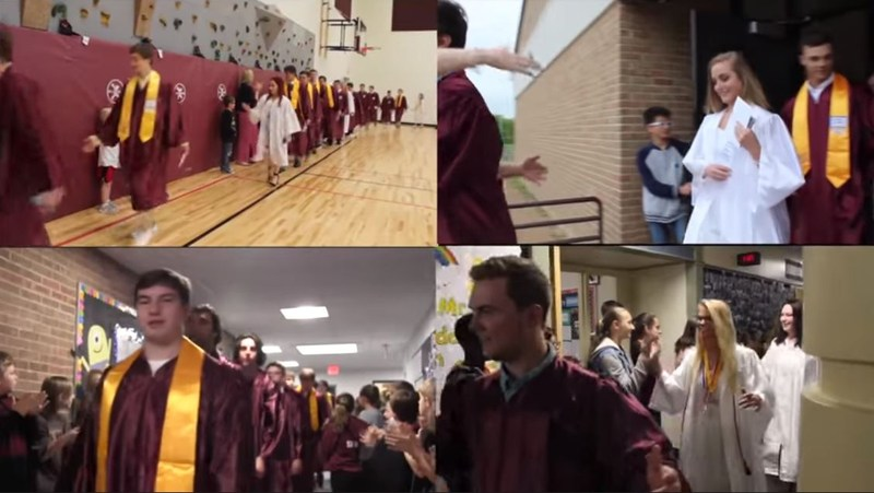 four screens depicting seniors in maroon and white robes walking through their elementary schools slapping hands with the younger kids