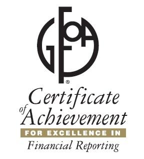 GFOA logo and certificate of achievement
