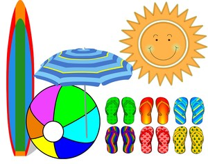 Cartoon Image of Beach Ball, Umbrella and Flip Flops