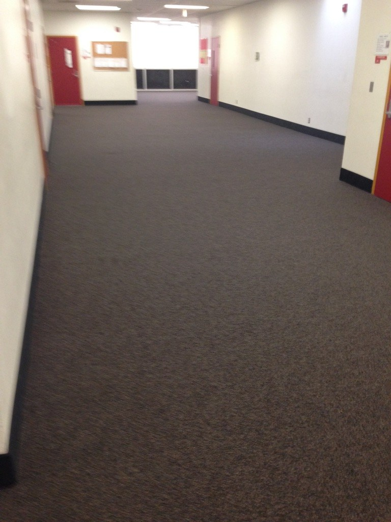 Installation of New carpet at Hemet High in hallway