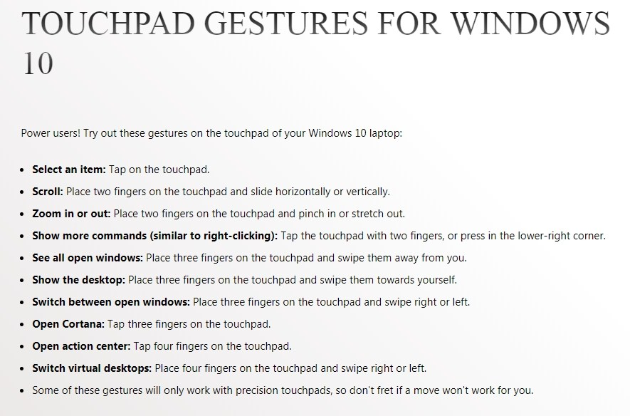 Touchpad Gestures for Windows 10