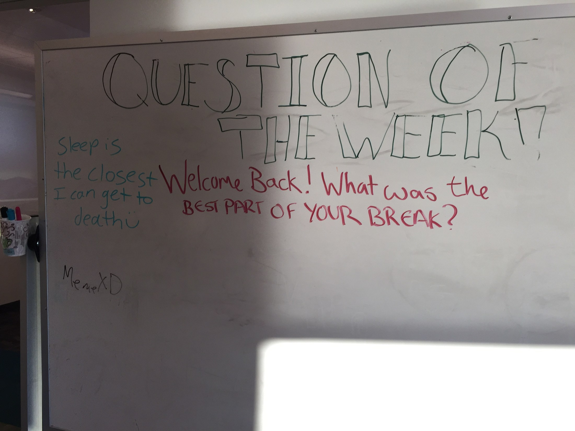Question of the Week - Welcome back! What was the best part of your break?