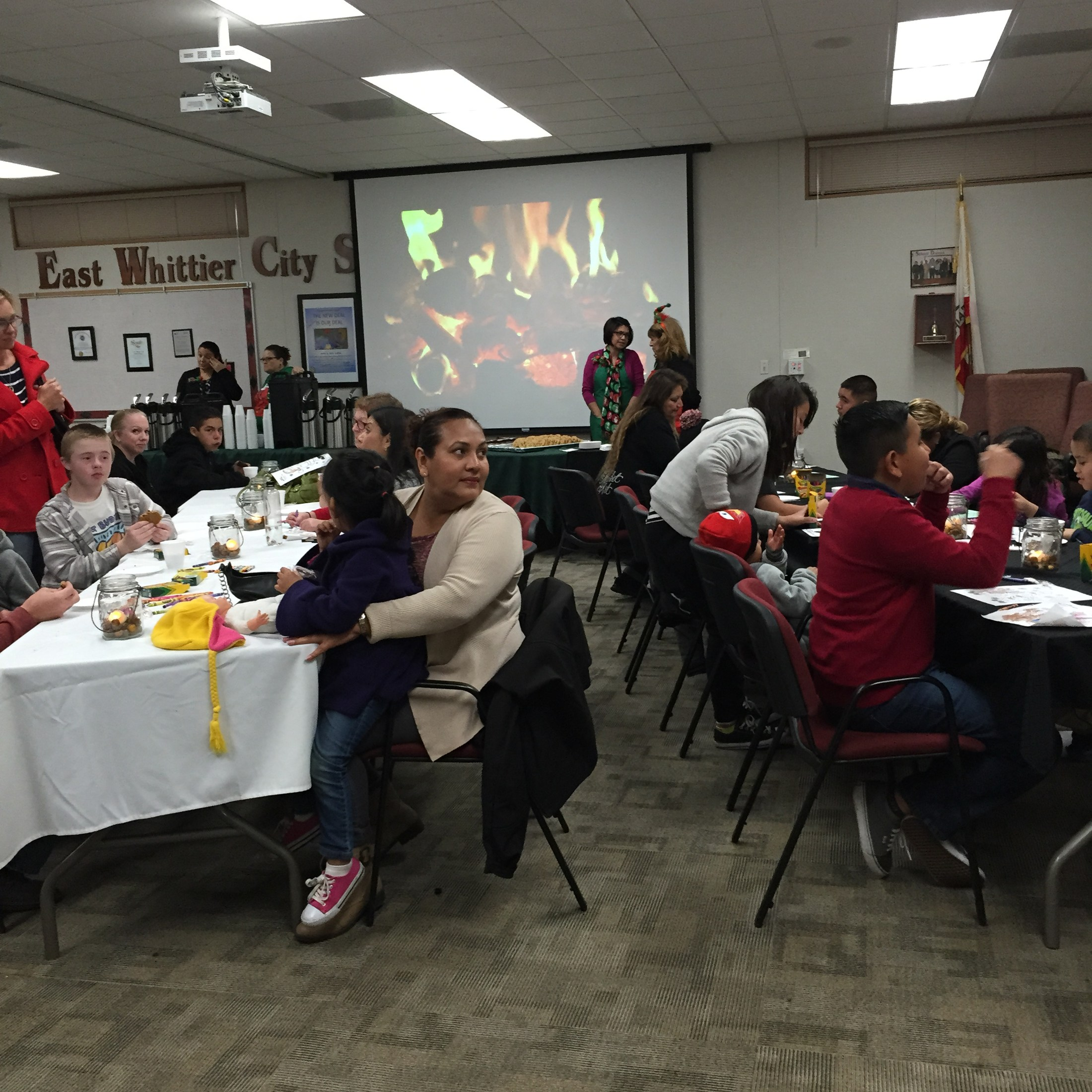 Families enjoying second annual Evening with Santa event.