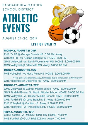 List of Athletic events for week of Aug. 21