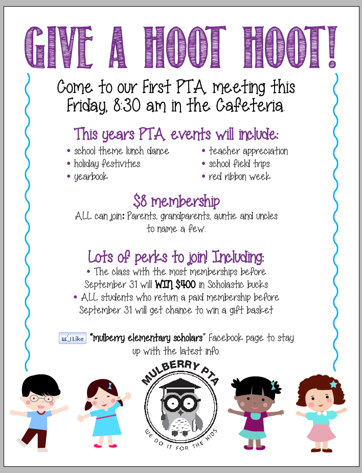 Flyer for first PTA meeting