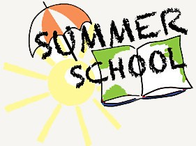 Summer school logo with umbrella and chair clipart