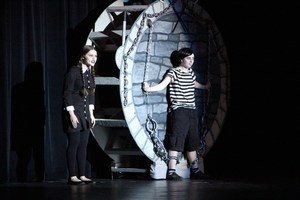 Wednesday and Pugsley playing in the production of The Addams Family