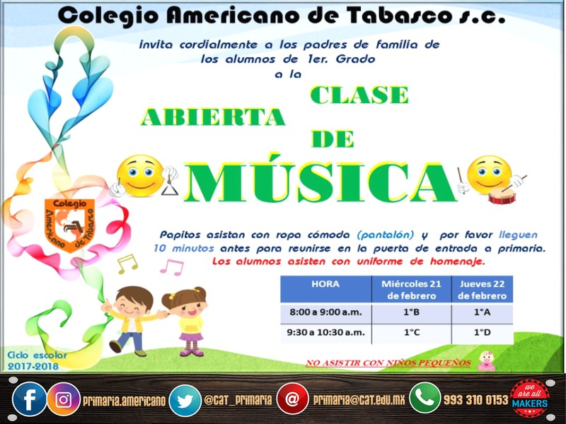 PRIMARIA: Clase abierta de música para alumnos de 1° Featured Photo