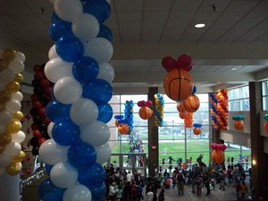 Balloons hanging in the Greensboro Coliseum.
