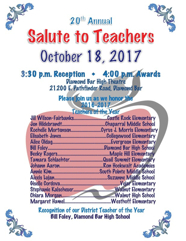 Salute to Teachers slated for Oct. 18 Featured Photo