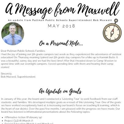 May 2018 Superintendent's Newsletter Thumbnail Image