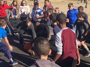 students playing gaga ball