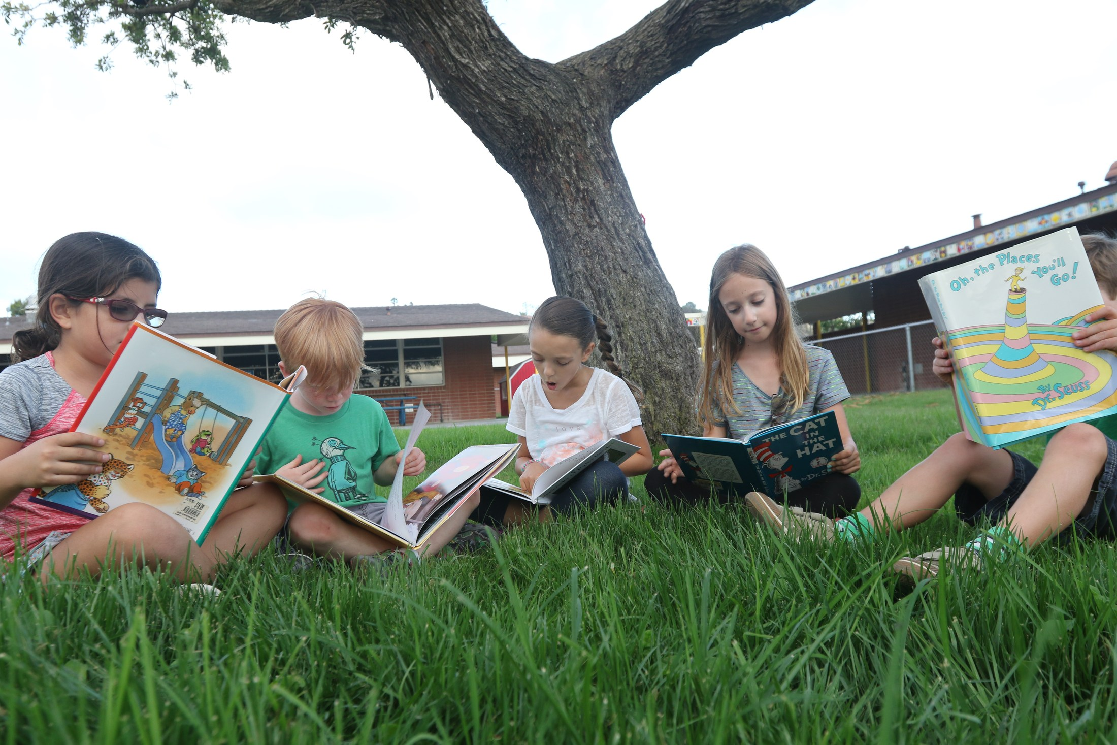children sitting on the lawn looking at books