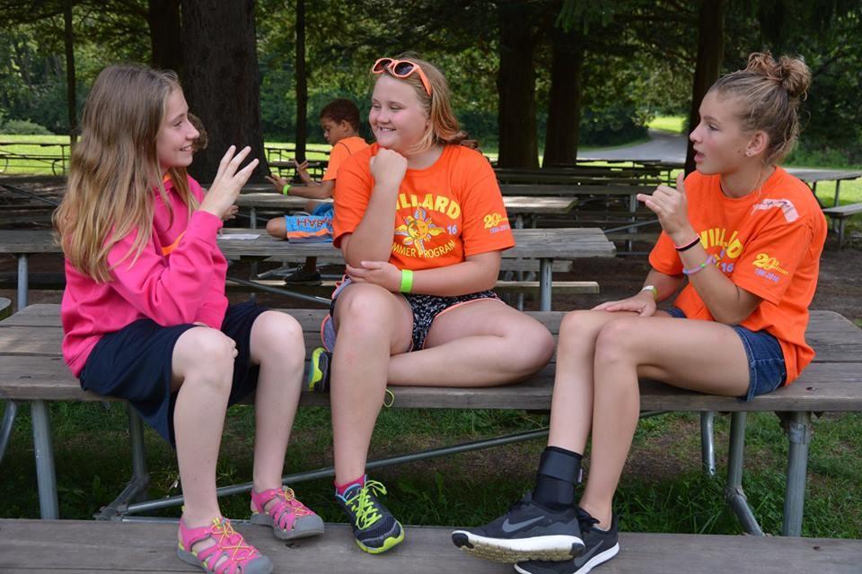 3 Camp Willard girls talking