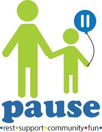 Pause program logo. It's a green and blue image of two figures - one a parent, the other a child holding a balloon