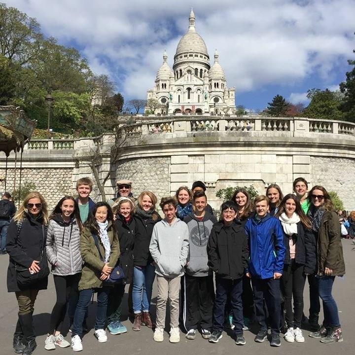kids in Paris in front of Monmarte