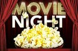 Movie Night text with popcorn