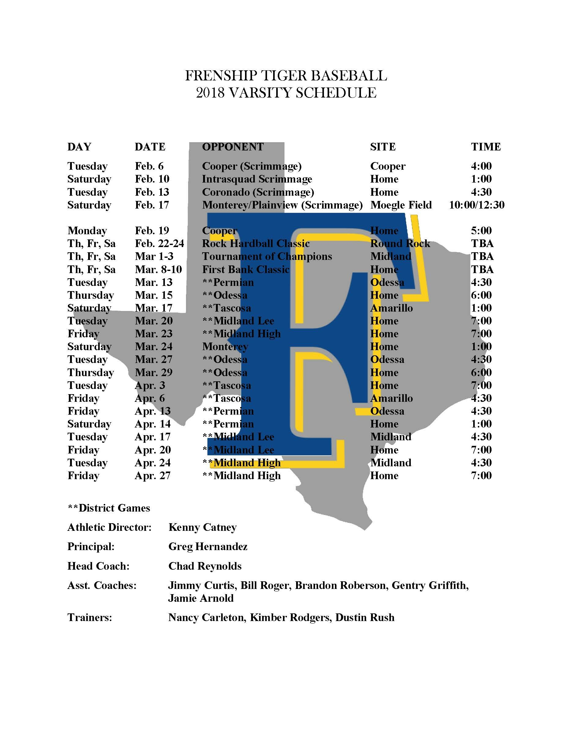 Frenship Baseball 2018 Schedule