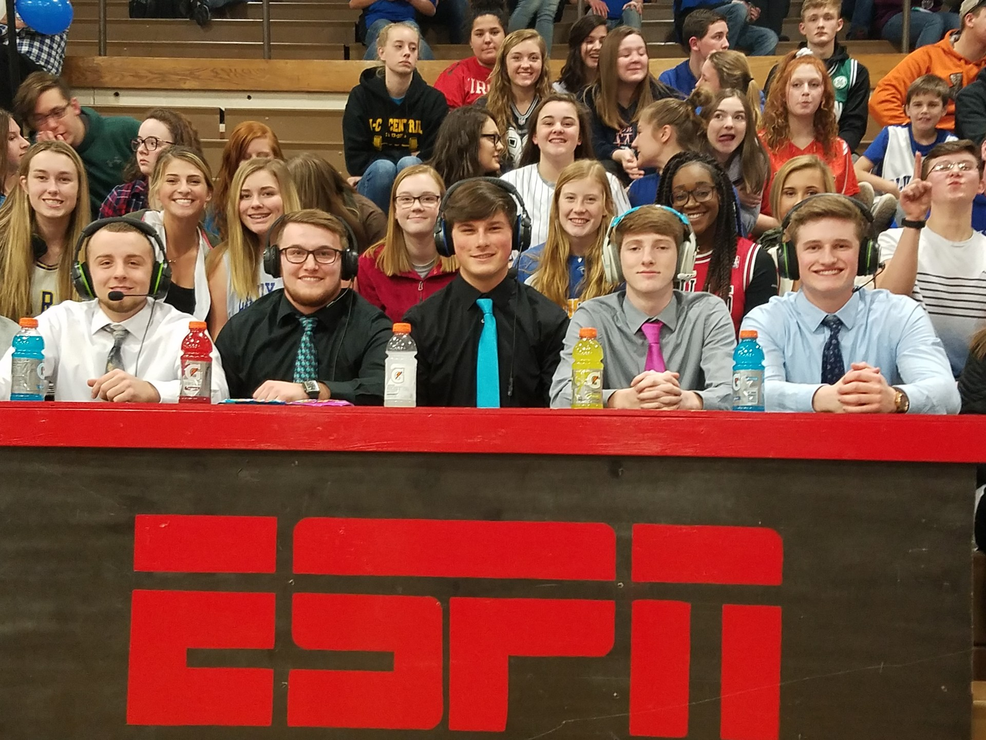 Senior boys at broadcast booth