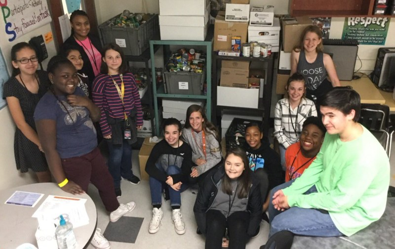 Pine Ridge Middle students collected more than 1,100 cans of food.