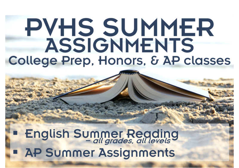 PVHS Summer Assignments Thumbnail Image