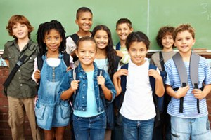 Students wearing backpacks appearing healthy!