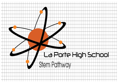 La Porte High School atom STEM logo