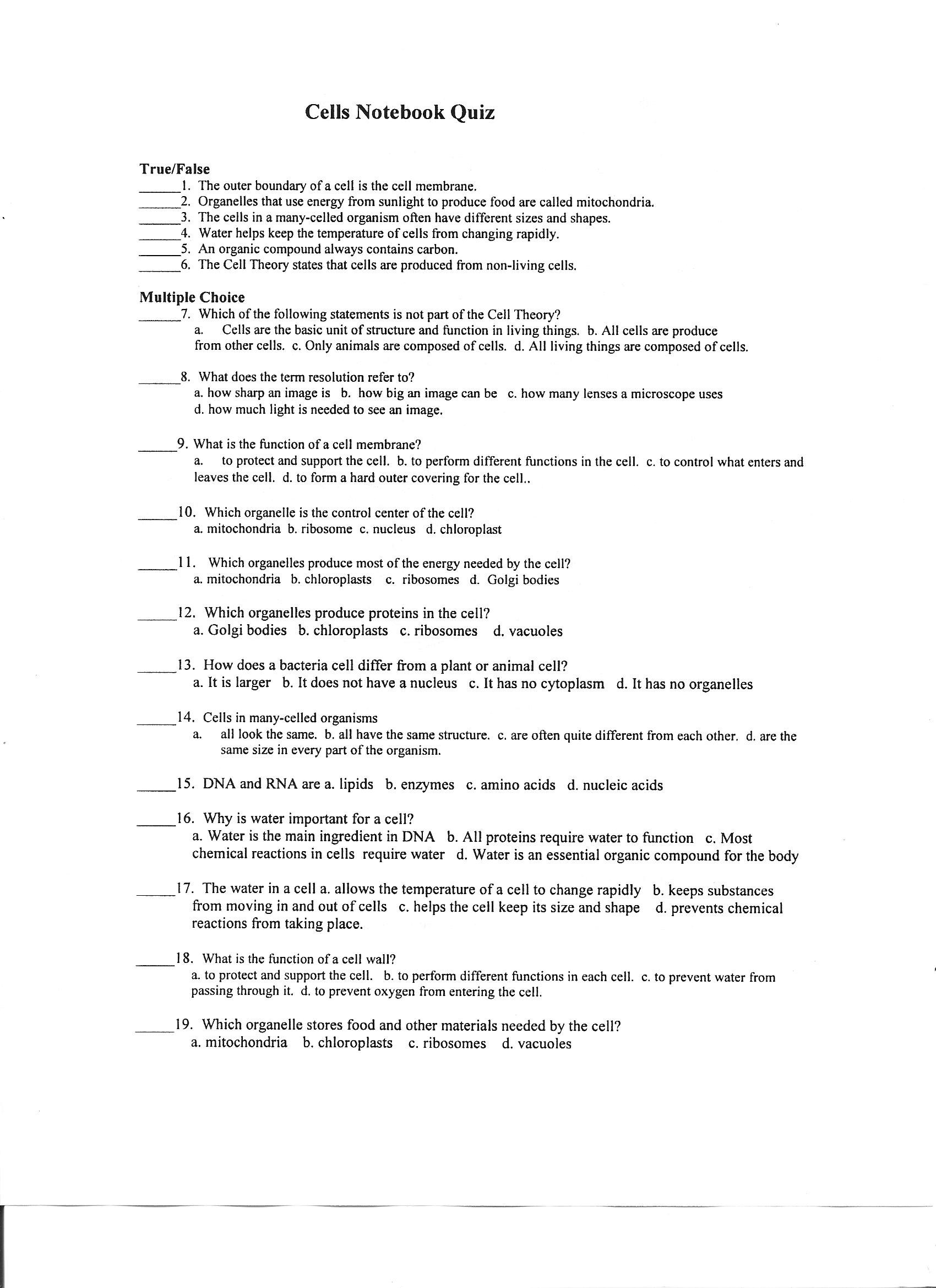 worksheet Looking Inside Cells Worksheet Answers canyon lake middle school cell unit test study guide 001 jpg