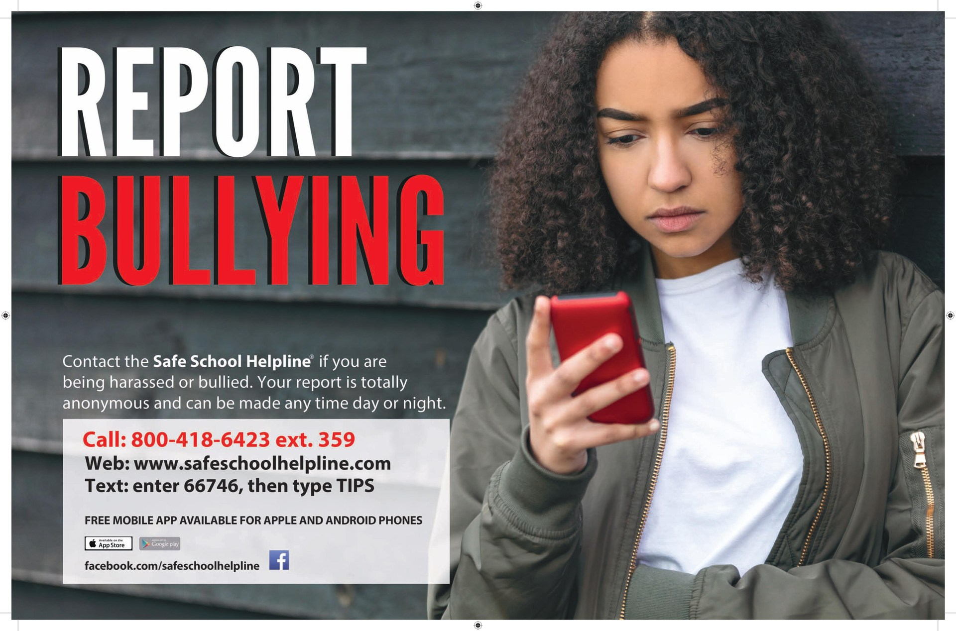 Report bullying poster with contact information