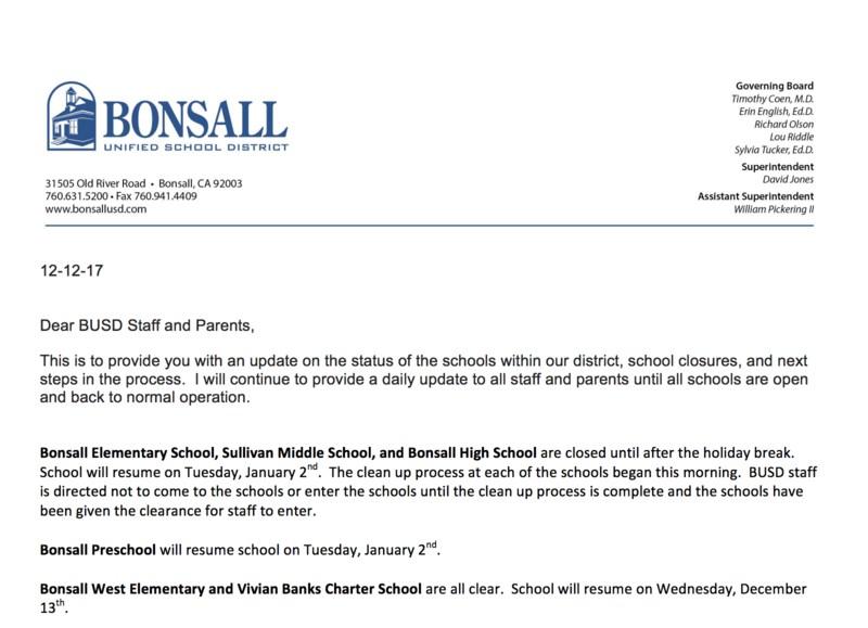 Superintendent Emergency update
