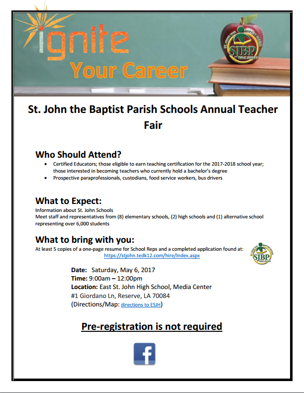St. John the Baptist Parish Teacher Fair Thumbnail Image