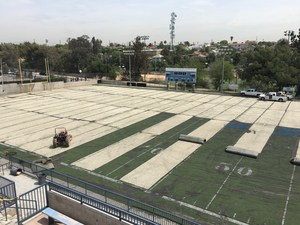 Old turf being removed