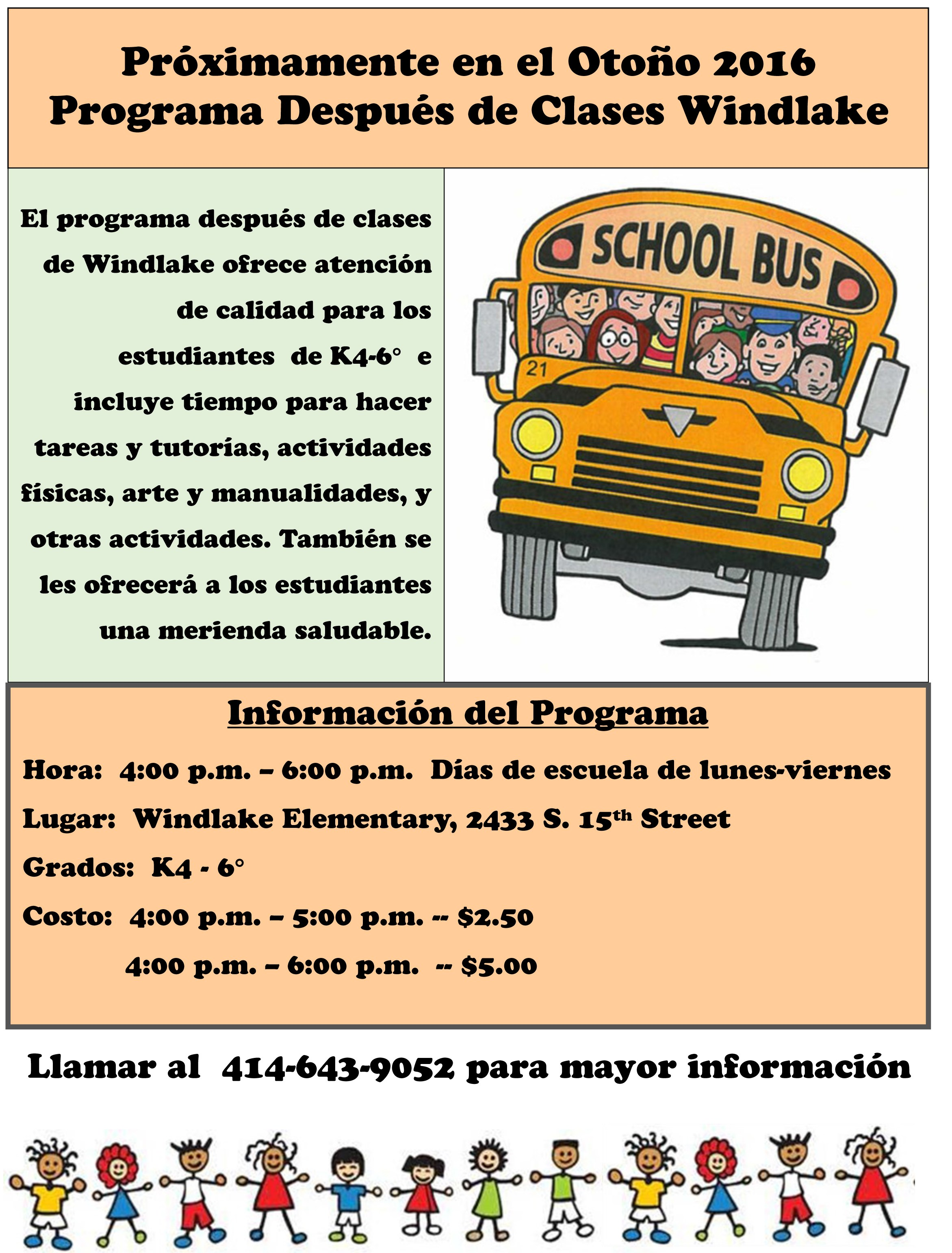 After school program flyer in Spanish. Call for details