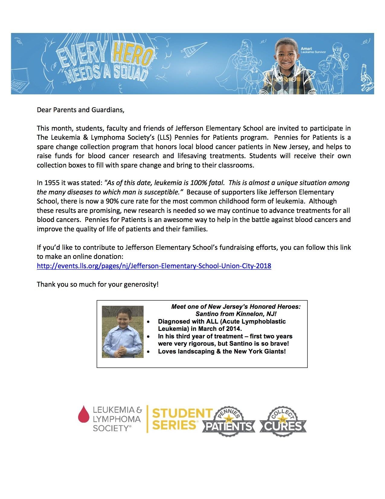 lukemia fundraiser parent letter