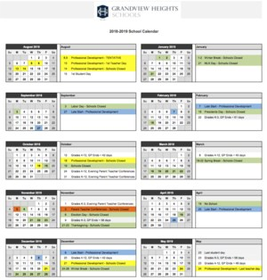 Screenshot of 18-19 Calendar