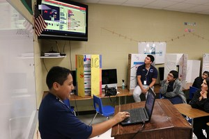 R. Cantu Jr. High sixth grade student presents his coding project