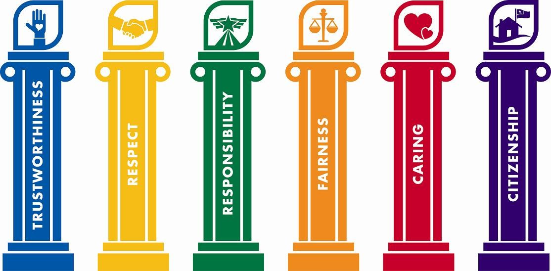 The six character counts traits are written on the pillars. They list trustworthiness, respect, responsibility, fairness, caring, and citizenship.