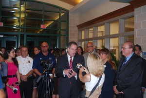 Mayor Brian P. Stack answering reporters question