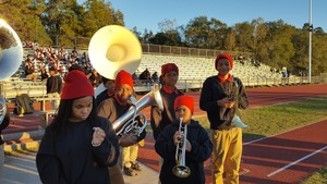 Photo of the Baker middle Band on side line at the Washington-Marion Battle of the Bands