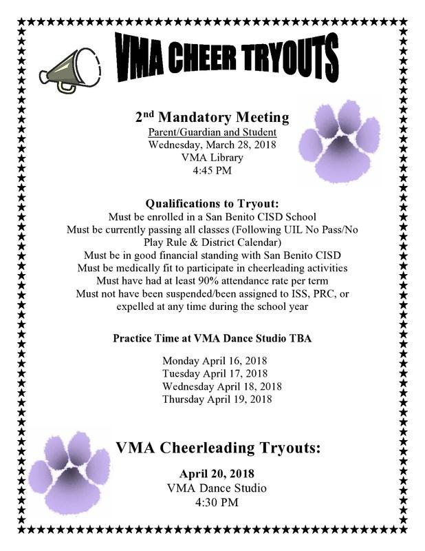 VMA Cheerleading Tryouts