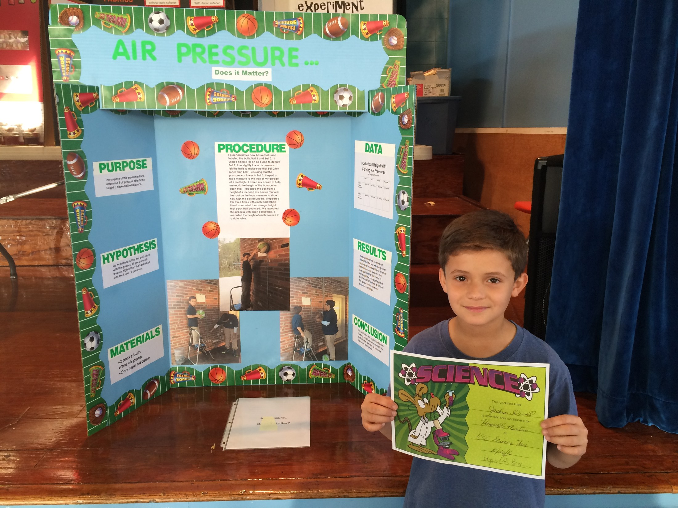 5th Grader Honorable Mentioned at Science Fair