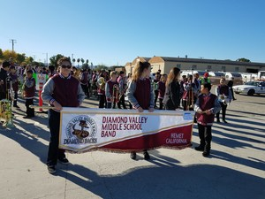 Diamond Valley Band marching in the Hemet Parade 2016