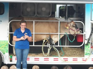 The Mobile Dairy Classroom parked the trailer in the parking lot.