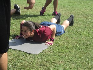 Girl doing push up