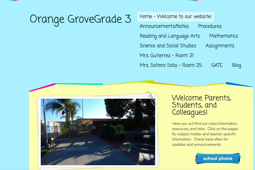 image of grade 3 website on weebly