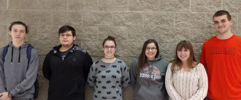 Students listed from left to right are as follows: Adam Adkins, Jacob Bullock, Tracy Zeiler, Bre West, Allie Popp and Brandon Cox.