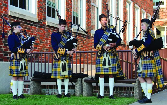 Bagpipers playing outside of HPHS
