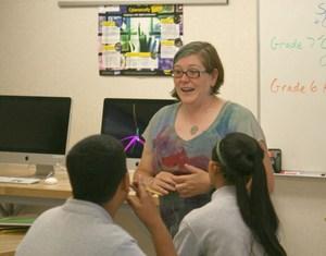 Sandy Roberts teaching PJMS
