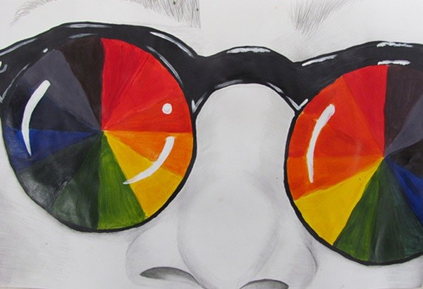 drawing of a boy with color wheel glasses