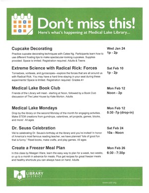 Medical Lake Library January and February Schedule